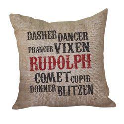 Reindeer Name Pillow <font color=a8bb35> Discontinued</font>