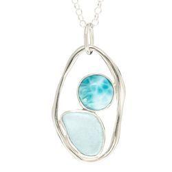 Sea Glass Pendant with lagoon Link
