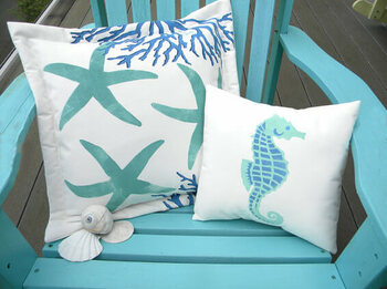Hand Painted Indoor/Outdoor Pillows <font color=a8bb35>Sold out</font>