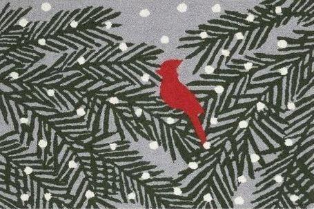 Cardinal Pine with Snow Indoor Christmas Doormat