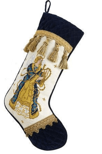 Angel with Velvet Cuff Toe Christmas Stocking<font color =a8bb35> Sold out</font>