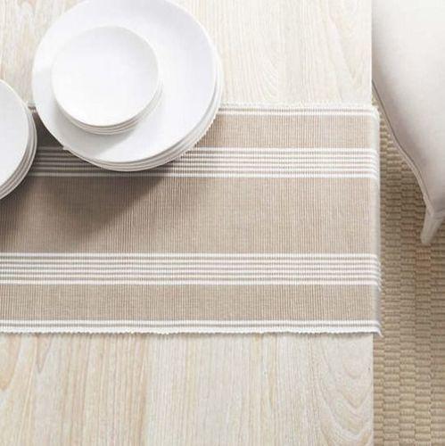 Bistro Stripe Platinum Table Runner With Napkin Option