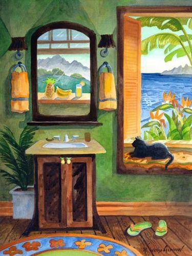 Black Cat Beach Print
