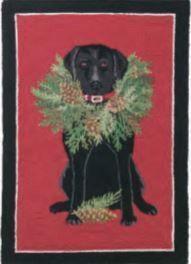Black Lab with Wreath Indoor Christmas Doormat