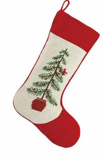 Cardinal on Tree Christmas Stocking<font color =a8bb35> Sold out</font>