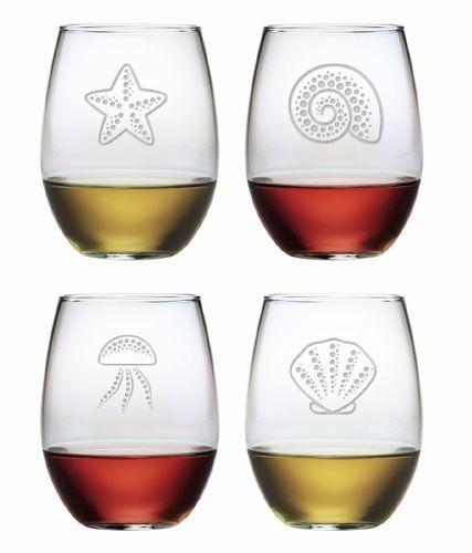 Coastal Stemless Wine Glasses Set of 4