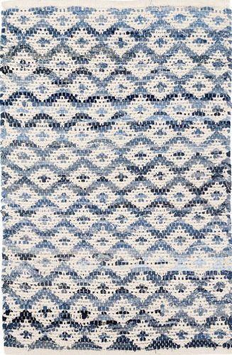 Denim Rag Diamond Ivory Cotton Rug