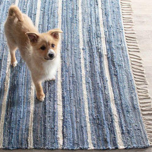 Denim Rag Stripe Woven Cotton Rug
