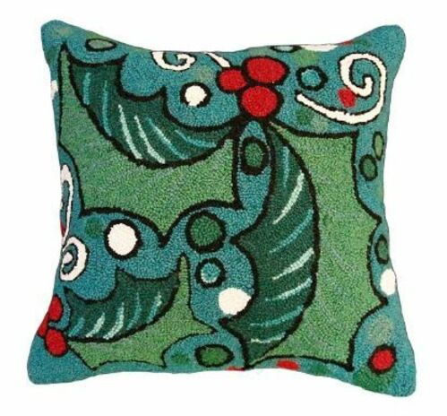 Holly with Blue Field Christmas Pillow