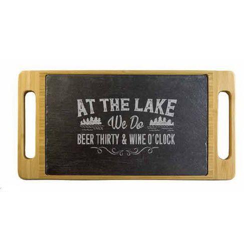 Lake Beer & Wine Slate & Bamboo Serving Tray