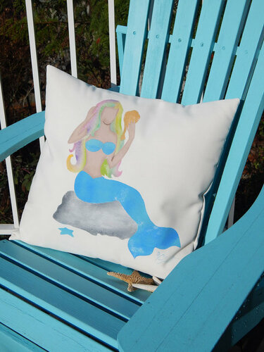 Mermaid on Rock Outdoor Pillow