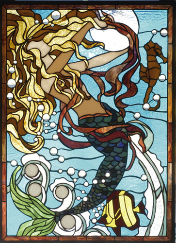 Mermaid Stained Glass Window