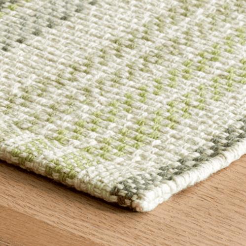 Oslo Stripe Green Woven Cotton Rug