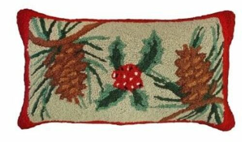 Pine Cones & Holly Christmas Pillow