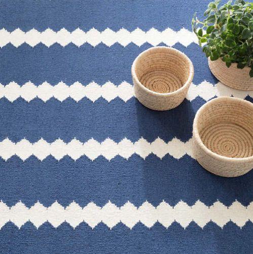 Senna Blue/Ivory Woven Wool Rug
