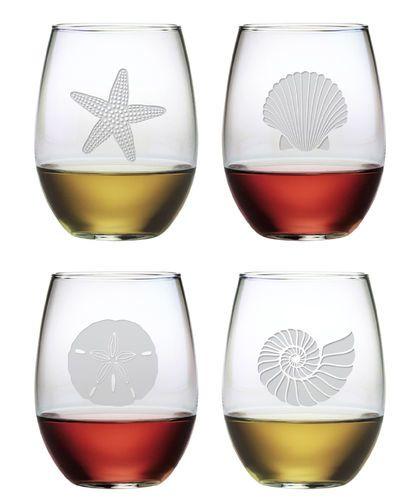 Stemless Wine Glasses Seashore Set of Four