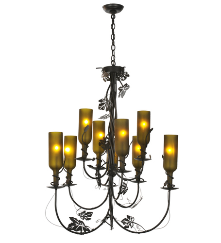 Vineyard Nine Light Wine Bottle Chandelier