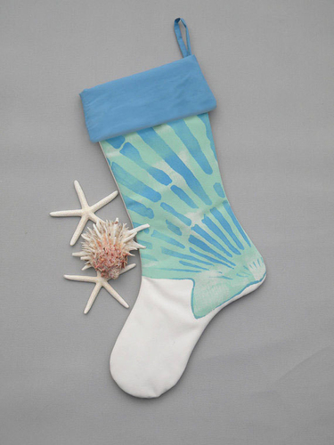Blue Scallop Stocking