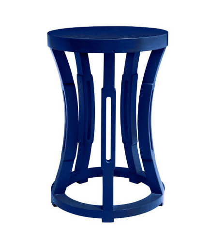 bungalow5 hourglass stool or side table in navy blue for sale cottage bungalow. Black Bedroom Furniture Sets. Home Design Ideas