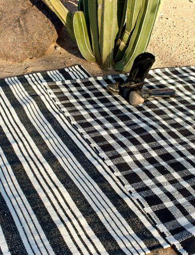 Tattersall Black/Ecru Cotton Rug