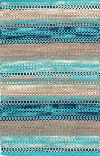 Gypsy Stripe Woven Cotton Rug in Turquoise/Grey