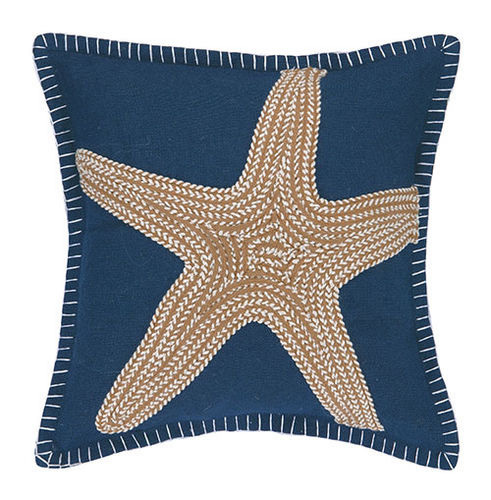 Sea Star Embroidered Pillow