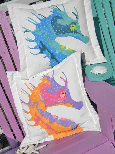 Seahorse Outdoor Pillow
