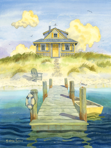 Sitting By The Dock Beach Art Print For Sale Cottage