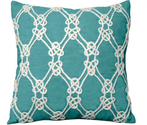 Nautical Rope Indoor Pillow in Turquoise<font color=a8bb35> Low Stock</font>