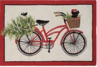 Indoor Christmas Doormat Red Bicycle