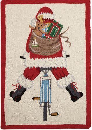 Santa Back Bike Indoor Christmas Doormat