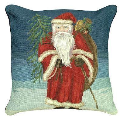 Santa with Tree Christmas Pillow