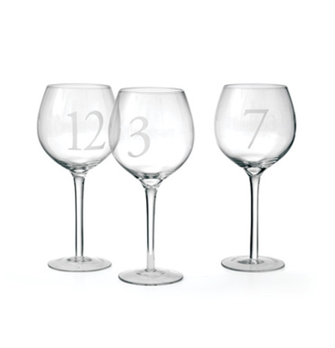 Set Of 12 Numerology Wine Glasses
