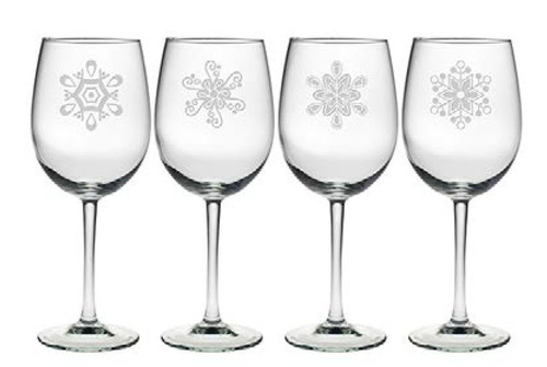 Abstract Snowflakes Wine Glasses Set of 4