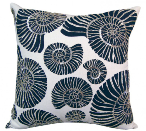 Beaded Nautilus Shell Indoor Pillow