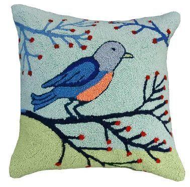 Birds & Berries Christmas Pillow