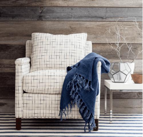 Blue Awning Stripe Cotton Rug