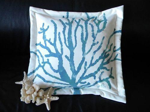 Blue Sea Fan Pillow
