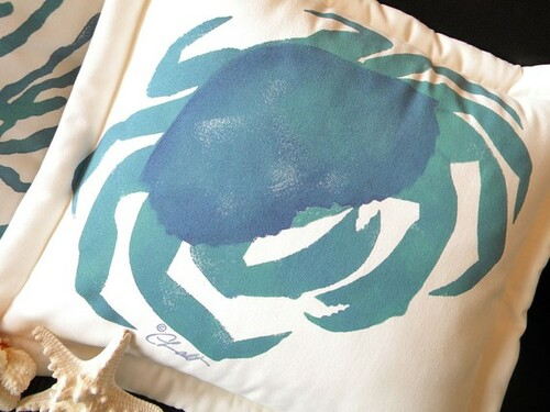 Bright Blue Crab Indoor/Outdoor Pillow