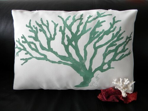 Celadon Coral Poolside Pillow