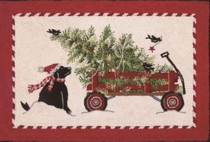 Christmas Tree Wagon Indoor Christmas Doormat