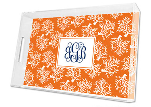 Coral Repeat Lucite Tray in Three Sizes