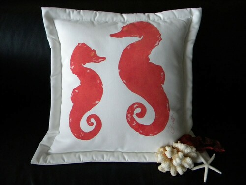 Coral Seahorse Indoor/Outdoor Pillow