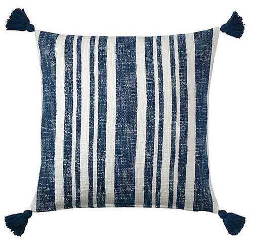 Denim Stripe Cotton Pillow
