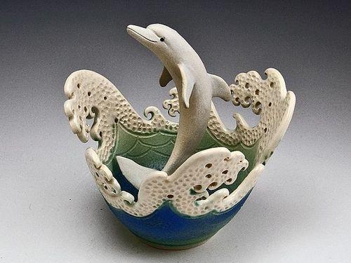 Dolphin Wave Rim Bowl For Sale Cottage Amp Bungalow