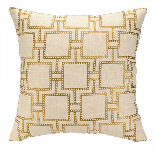Dotted Lines Citron Embroidered Pillow