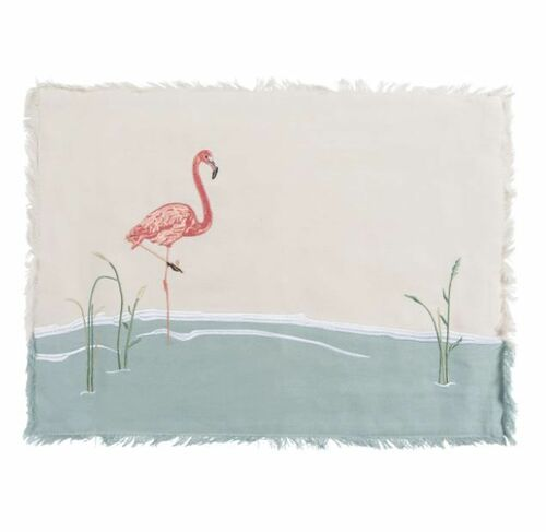 Embroidered Flamingo Placemats Set of 4 *NEW