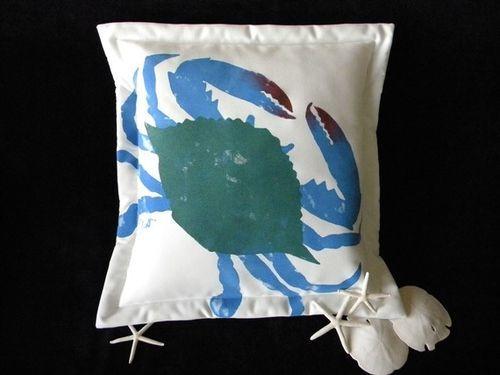Girl Blue Crab Indoor/Outdoor Pillow