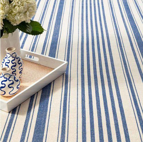 Hampshire Stripe Cobalt Woven Cotton Rug