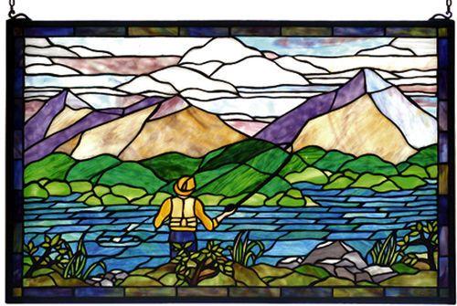 Just Fishin' Stained Glass Windowlight